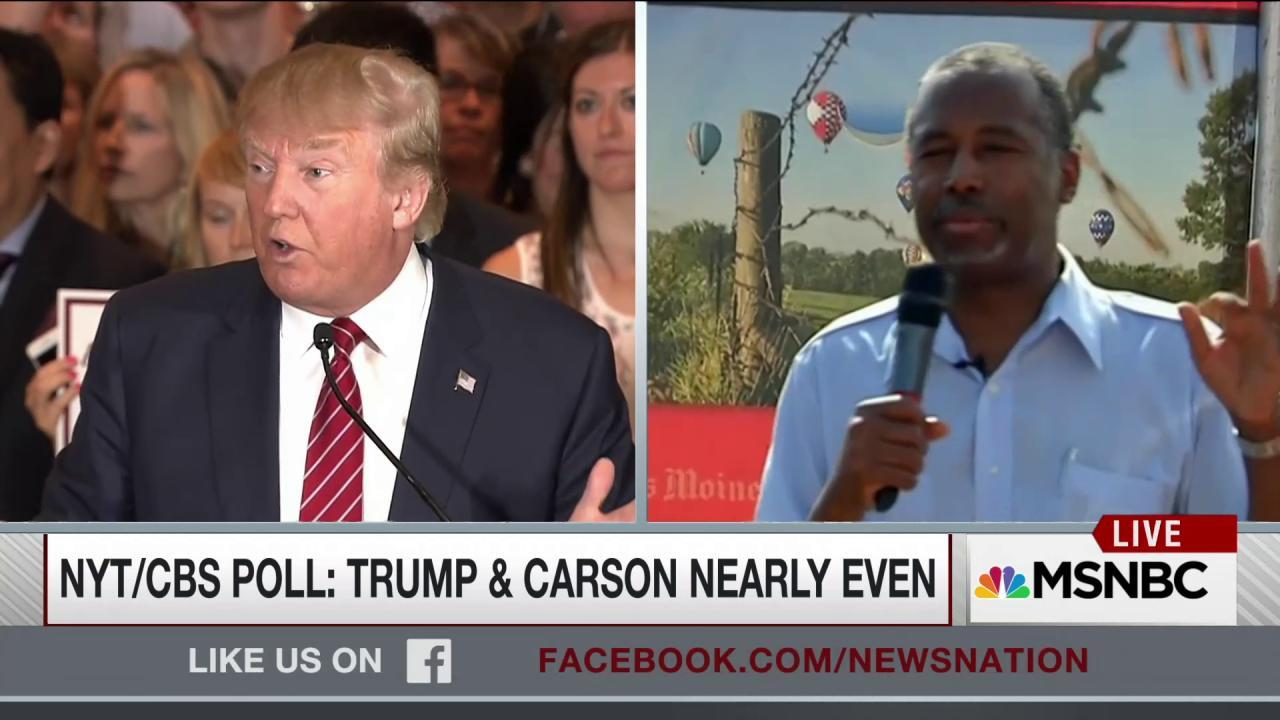 Trump and Carson nearly even in new poll