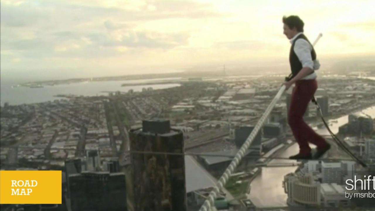 Australian tightrope walker breaks record