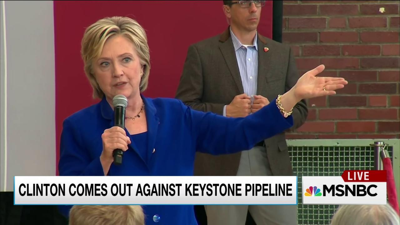 Clinton voices opposition to Keystone XL