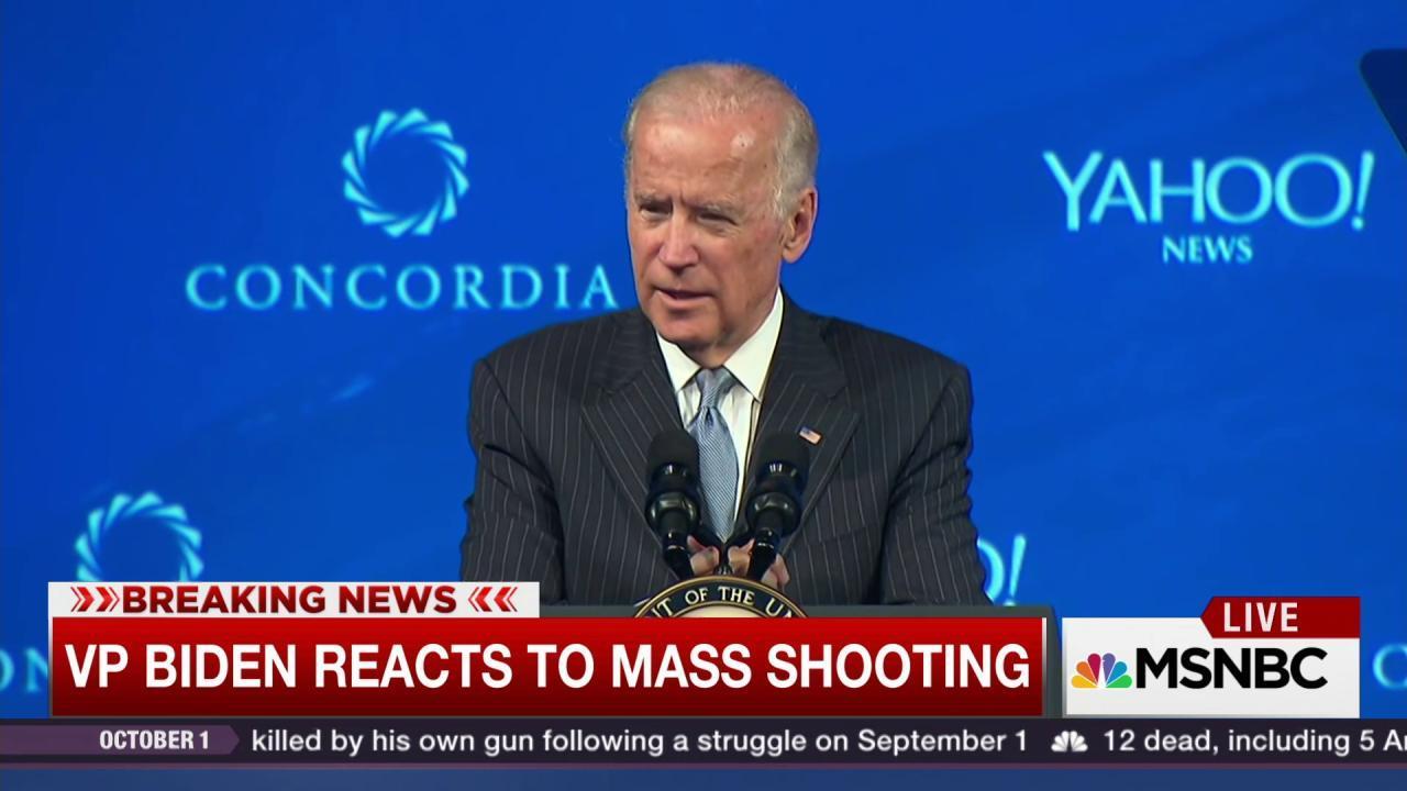 VP Biden reacts to Oregon mass shooting