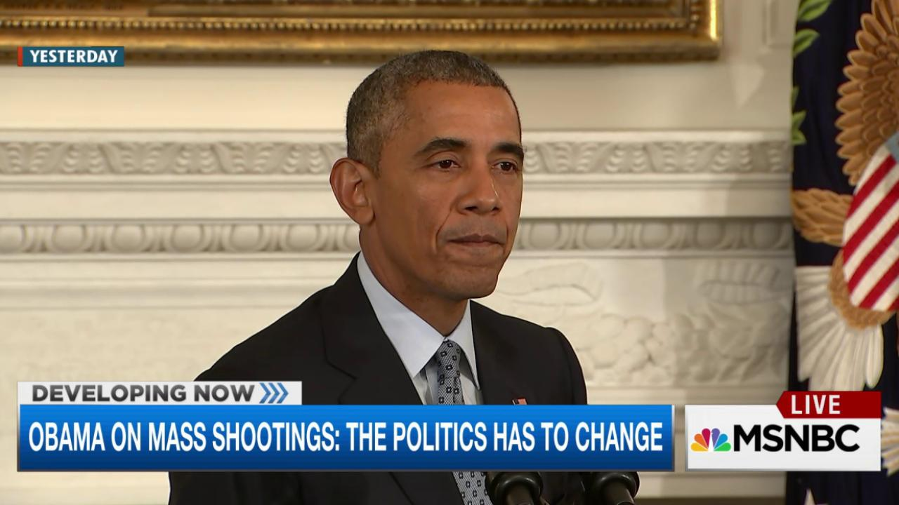 Obama on mass shootings: Politics have to...