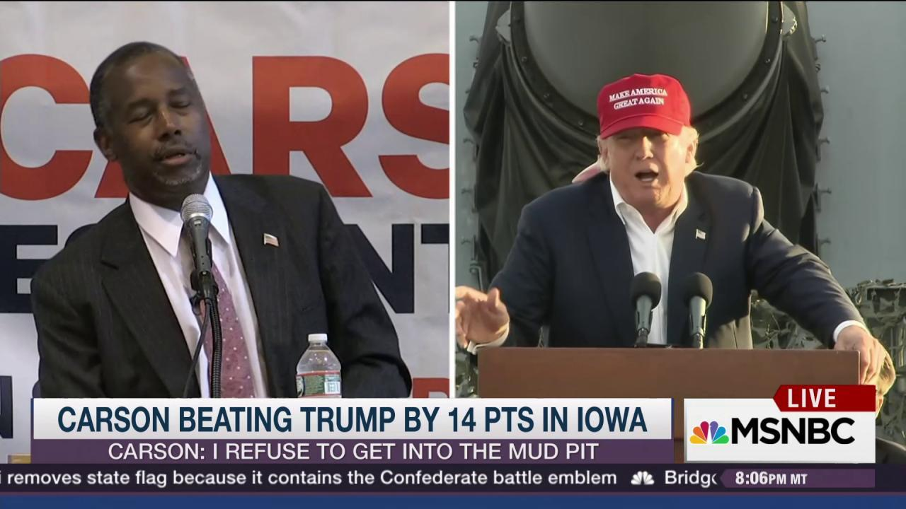 Trump won't admit that Carson leads in Iowa