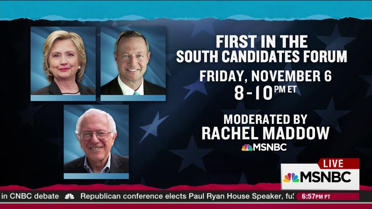 Rachel Maddow moderates First in South Forum