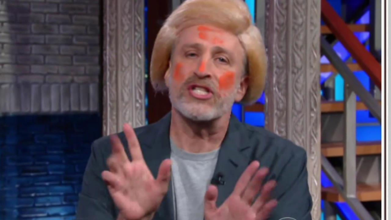 Jon Stewart does his best Donald Trump