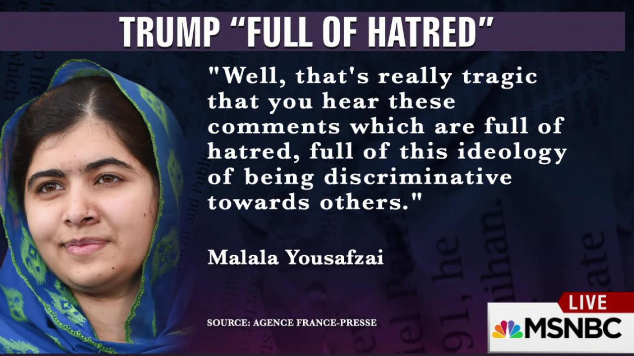Malala Yousafzai takes on Donald Trump
