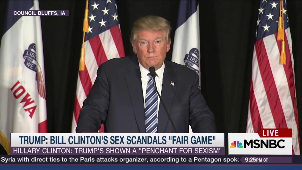 Trump: Bill Clinton scandals are 'fair game'