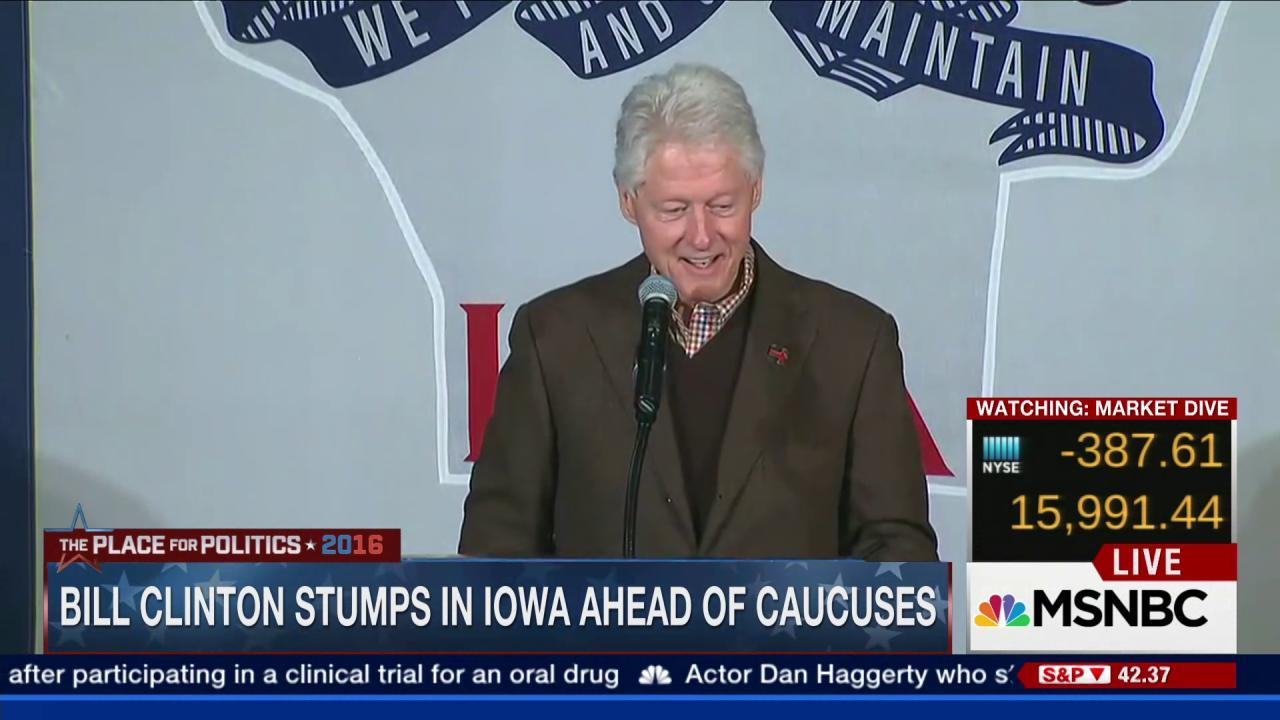 Bill Clinton stumps in Iowa ahead of caucuses