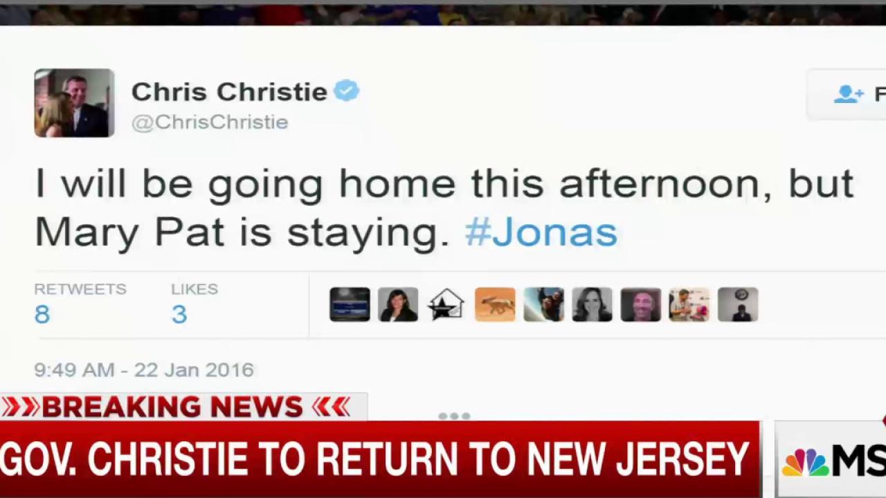 Gov. Christie to return to New Jersey