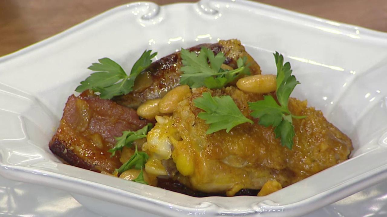 Make a mouth-watering chicken cassoulet, a French-style casserole ...