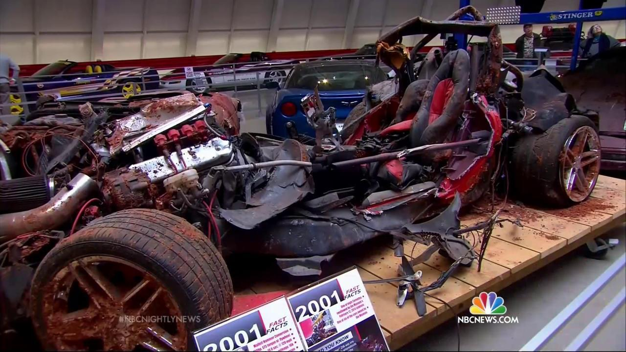 National Corvette Museum >> Wrecked Cars From Sinkhole On Display At National Corvette Museum