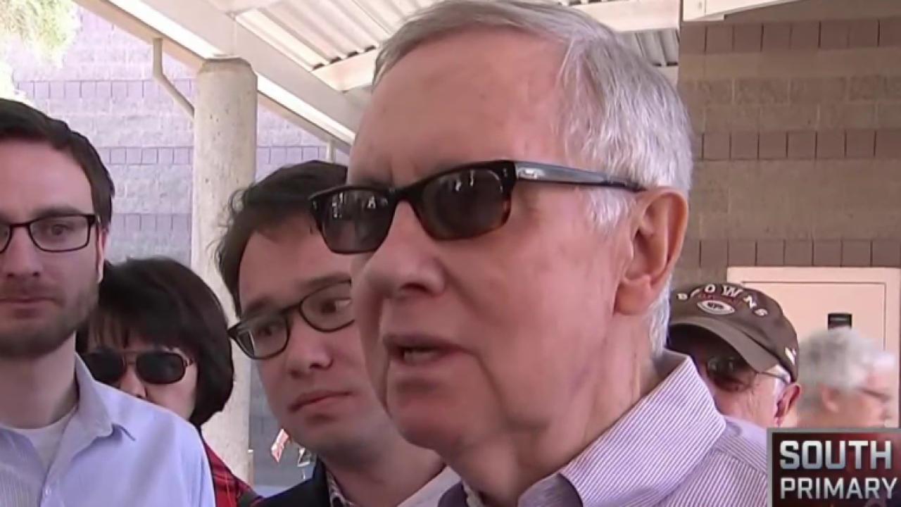 Harry Reid visits NV caucus site