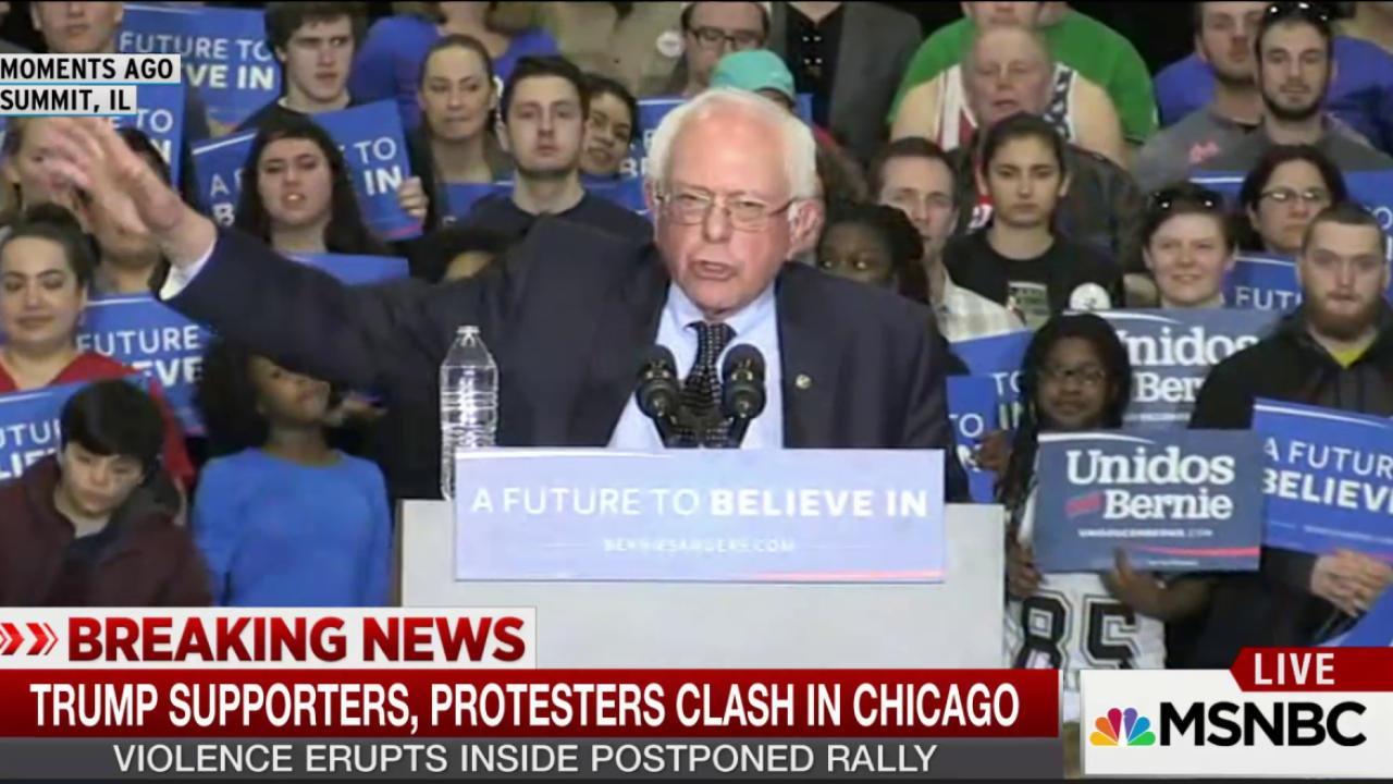 Sanders calls for unity after Trump violence