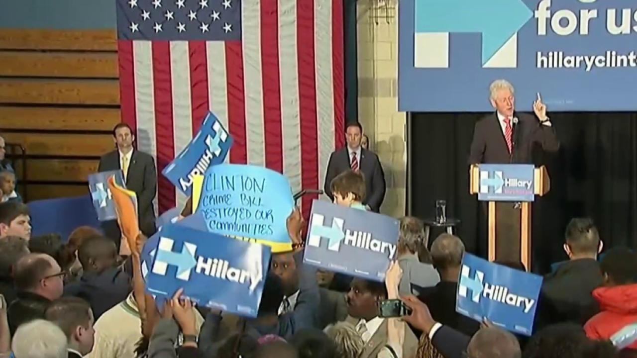Protests interrupt Bill Clinton in PA