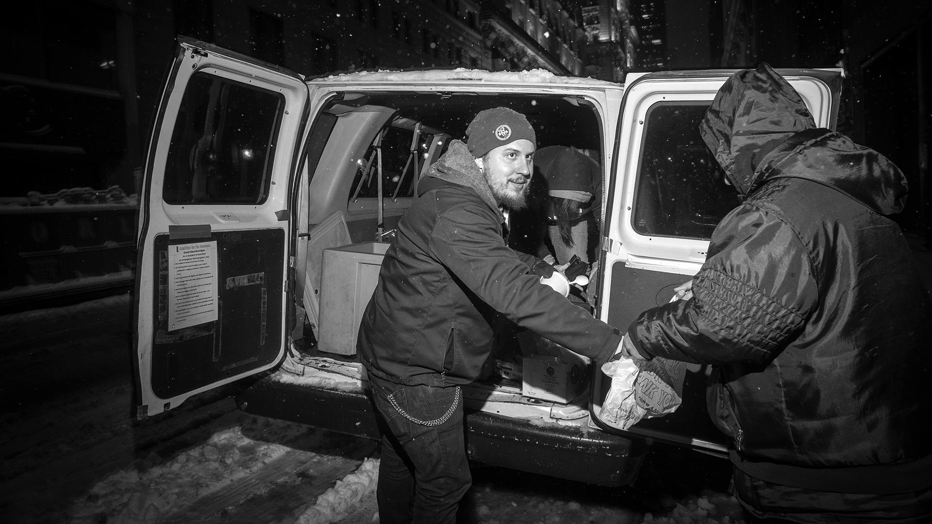 Working to feed the homeless during blizzard