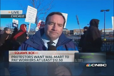 CNBC's Phil LeBeau reports on protests happening at Wal-Marts around the country today, mostly over low wages.
