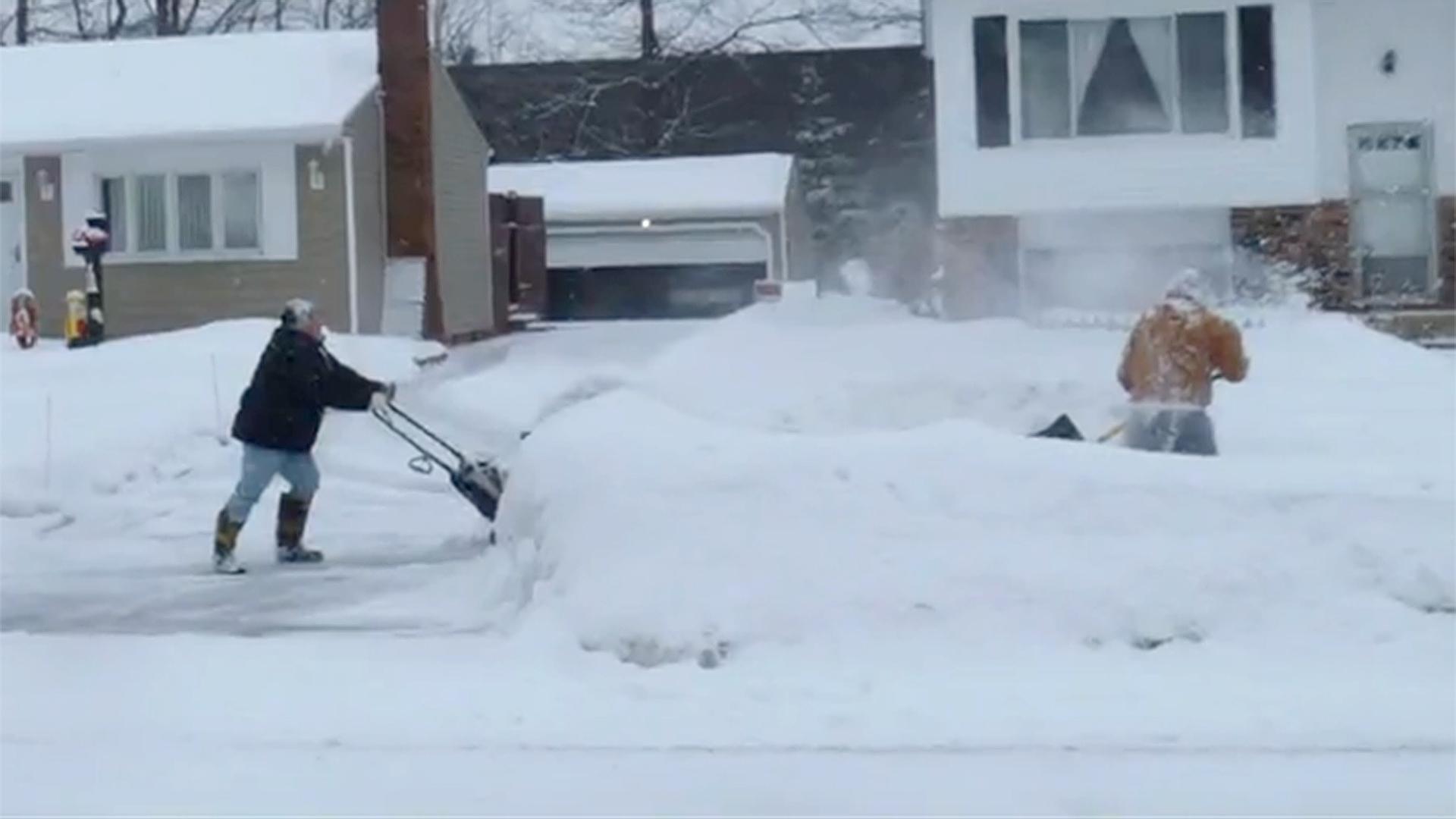 Shoveling snow gets hairy woman sadie matthews hot 7