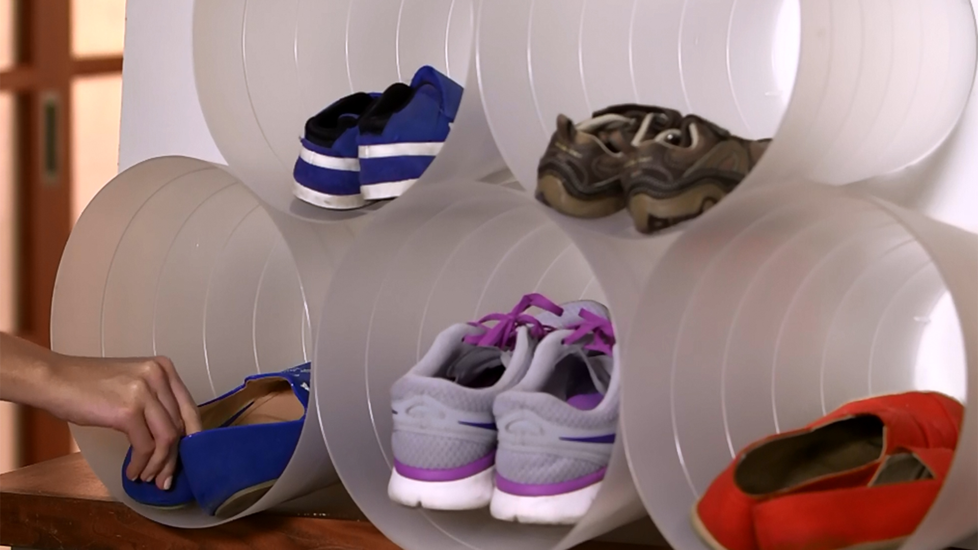 DIY shoe racks to keep entryway organized