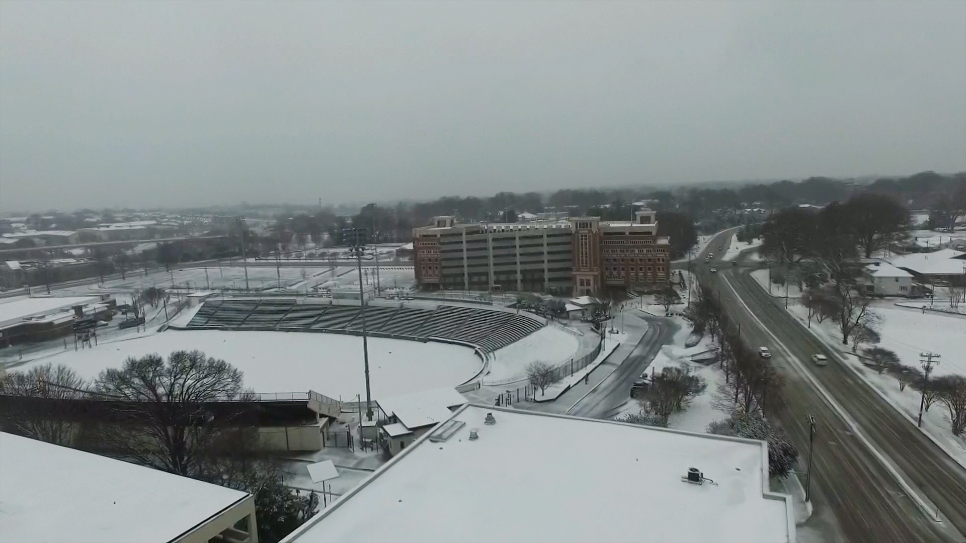 Drone Shows Snow Covered Charlotte, N C  - NBC News