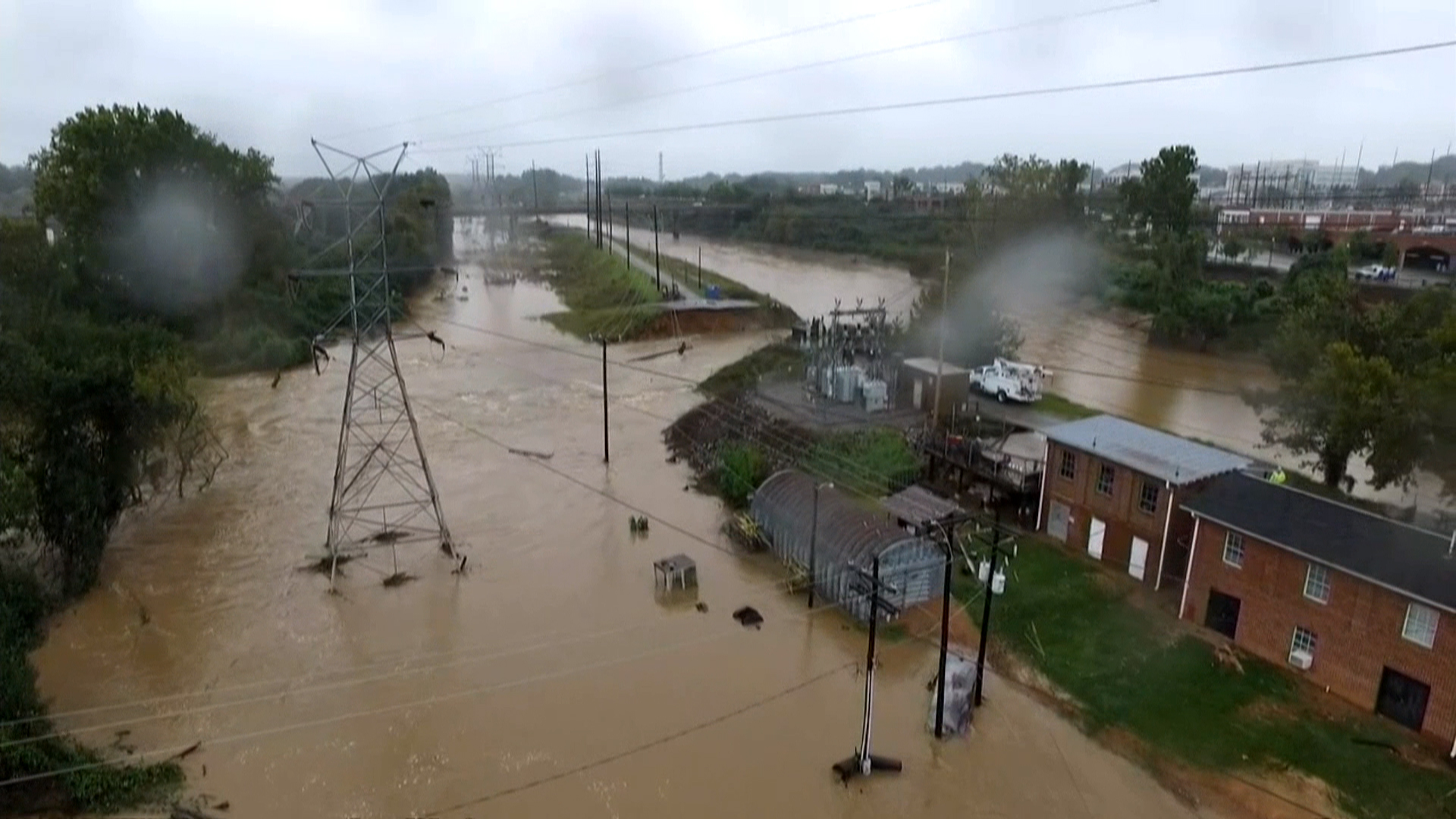 Bird's-Eye View of Columbia Canal Flooding