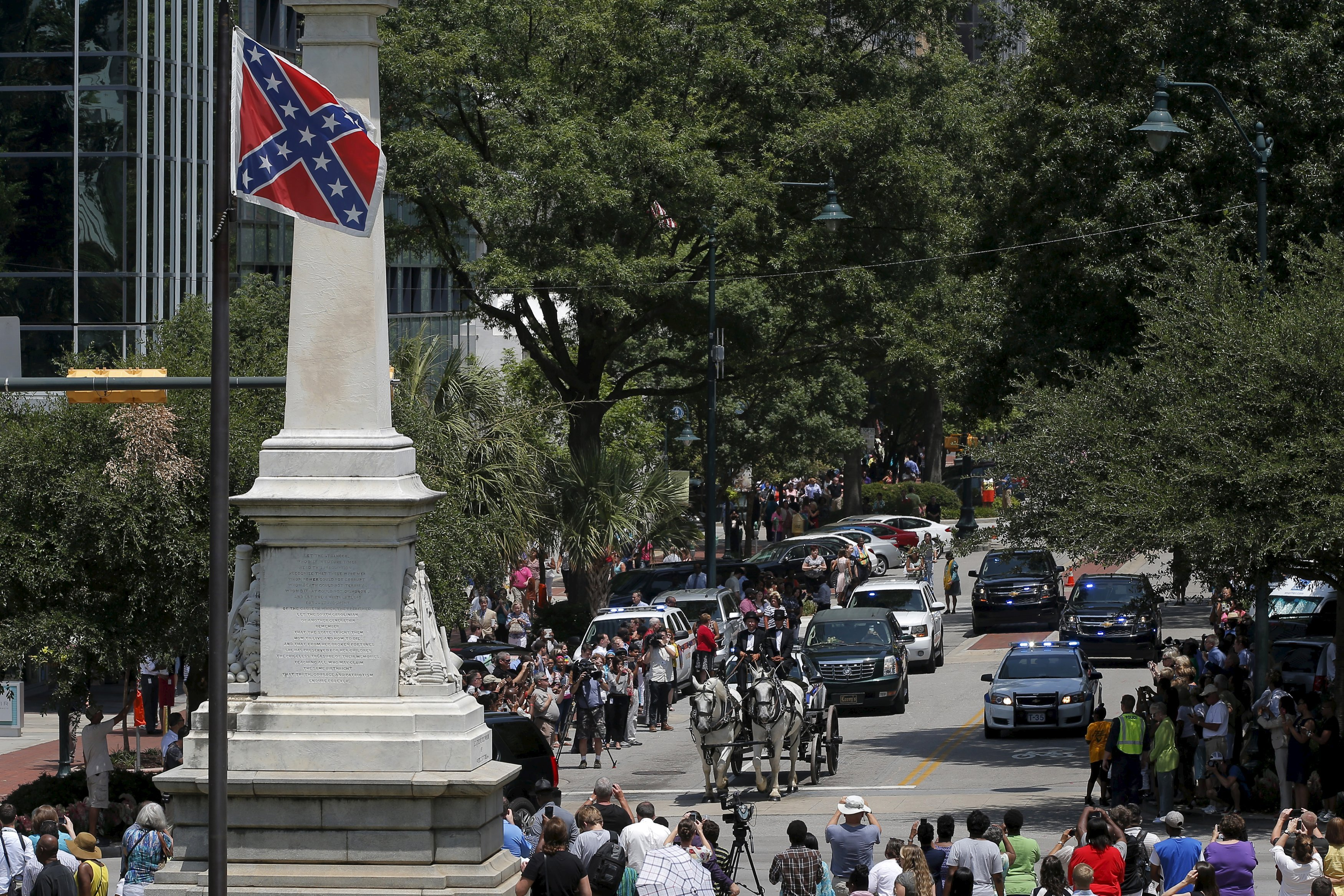 Pastor Clementa Pinckney s Body Carried Past Confederate Flag Into