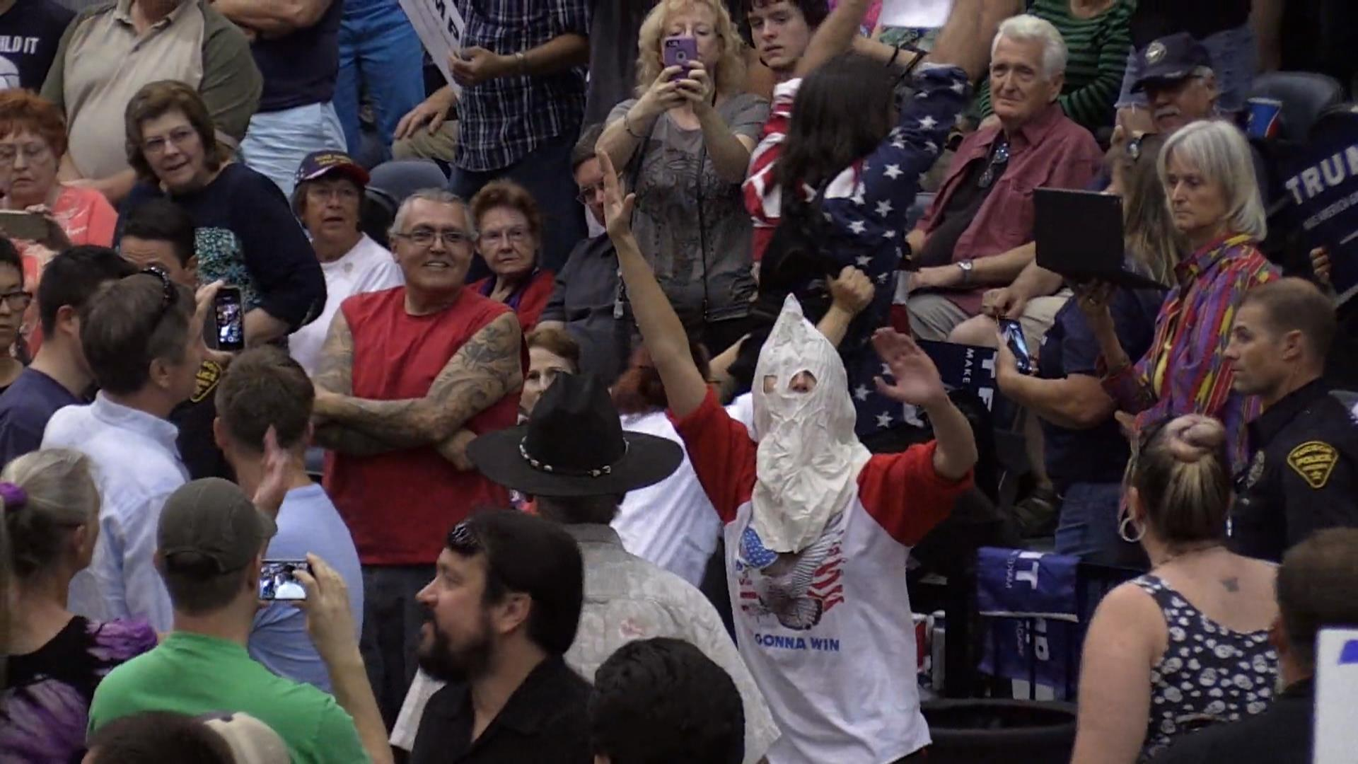 Man in Klan Outfit Disrupts Trump Rally - NBC News