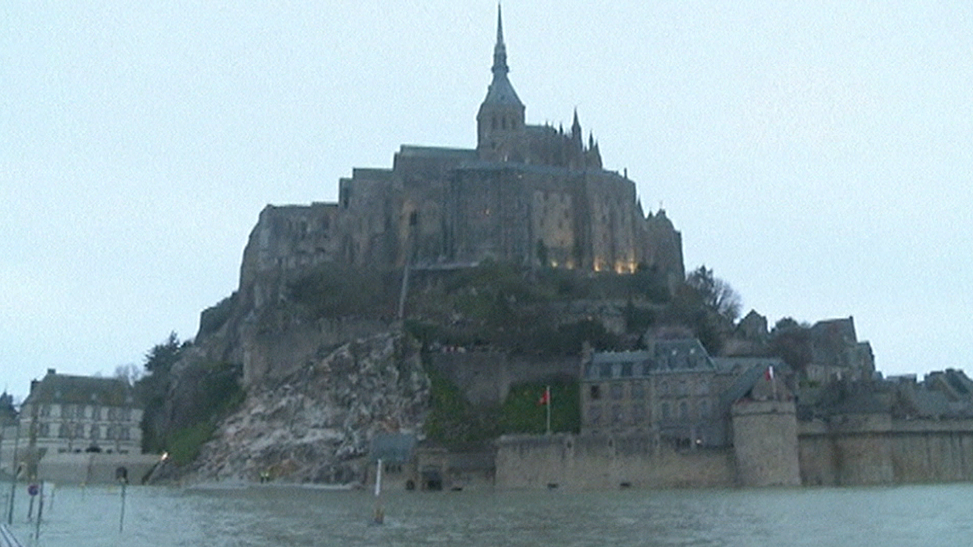 Rare Supertide Turns Ancient Abbey Into Isolated Island