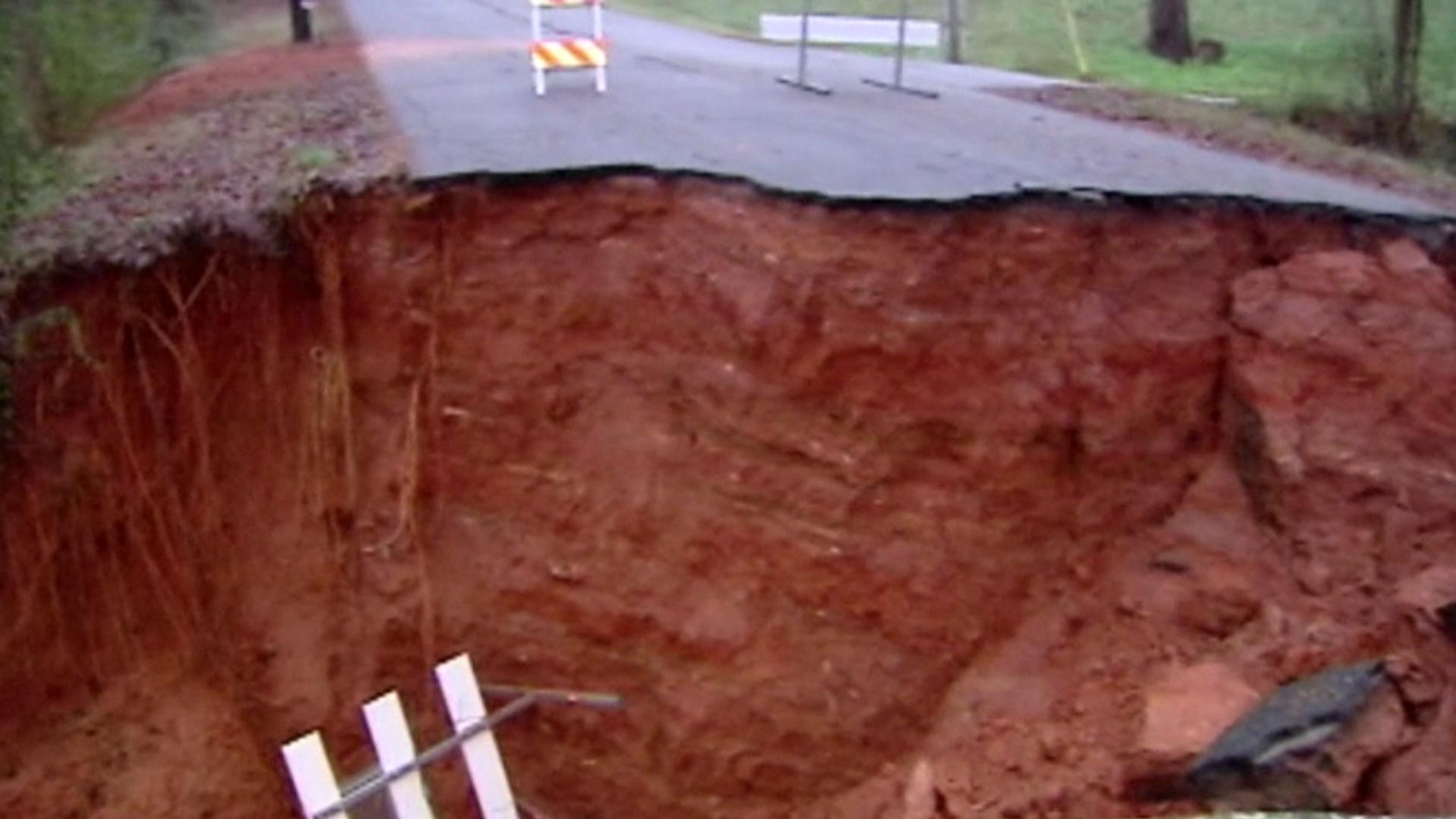 sinkhole swallows south carolina road nbc news