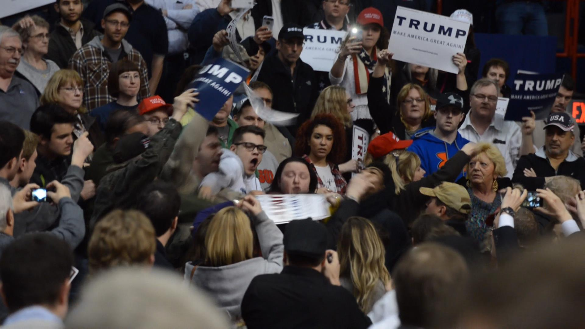 Men Brawl at N.Y. Trump Rally as Candidate Complains of 'Crooked' Nominating Process