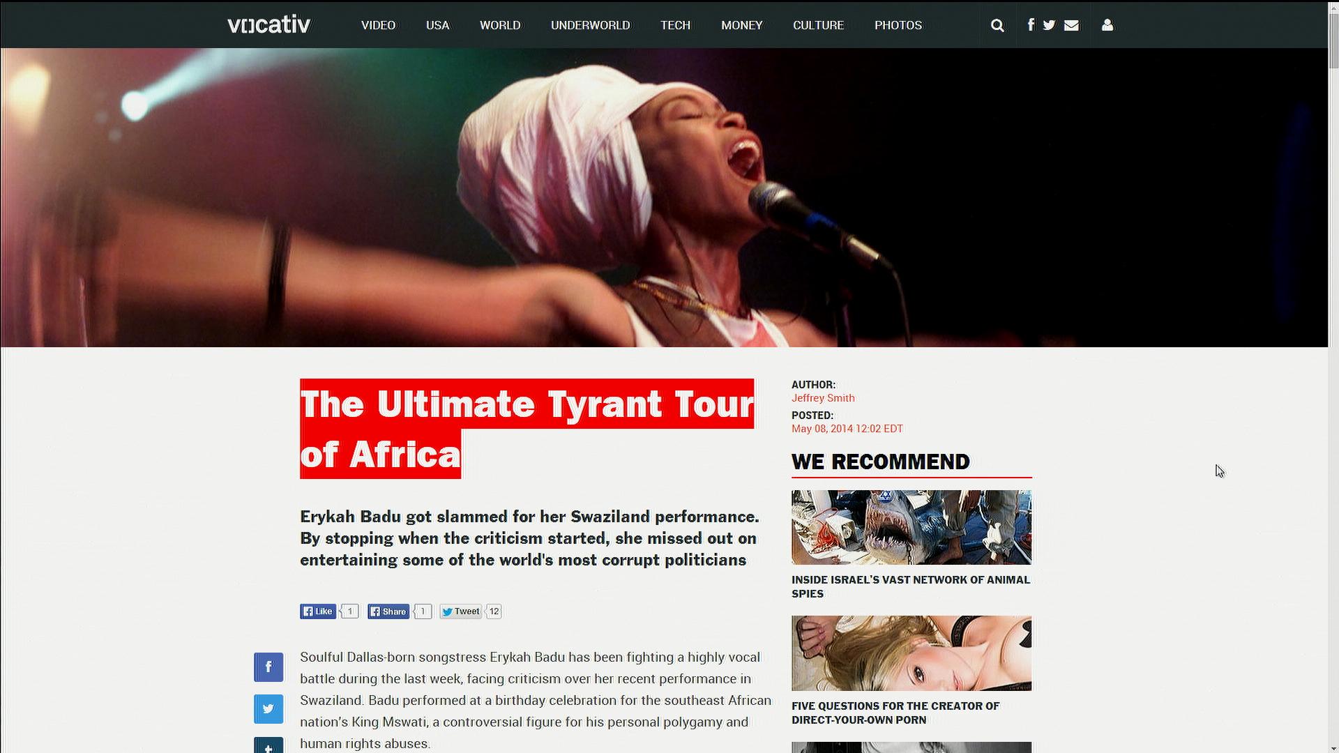 Erykah Badu defends Swaziland performance