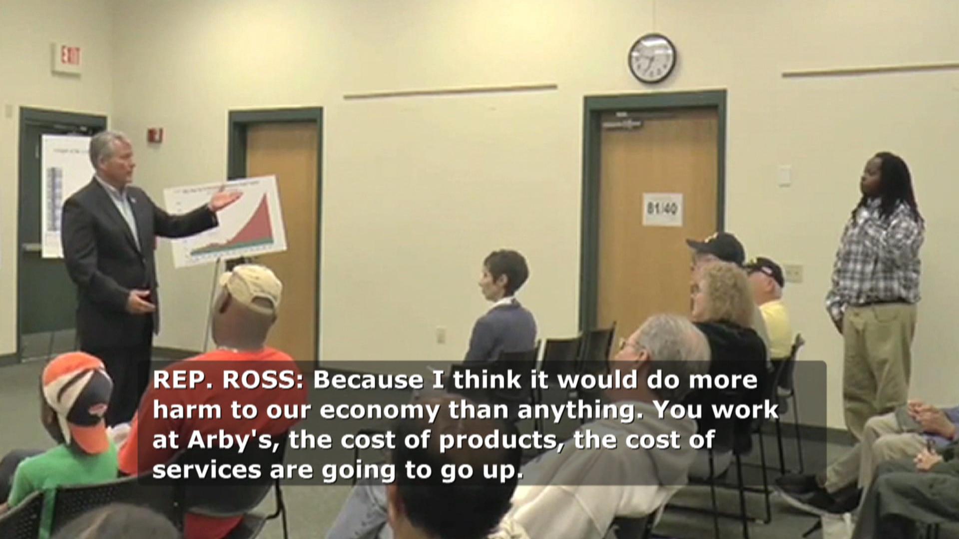 Low-wage worker confronts GOP congressman
