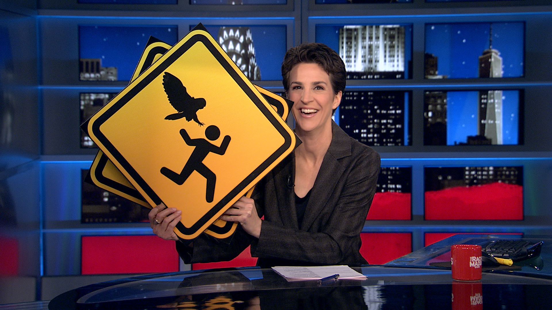 Maddow show performs civil owl sign service