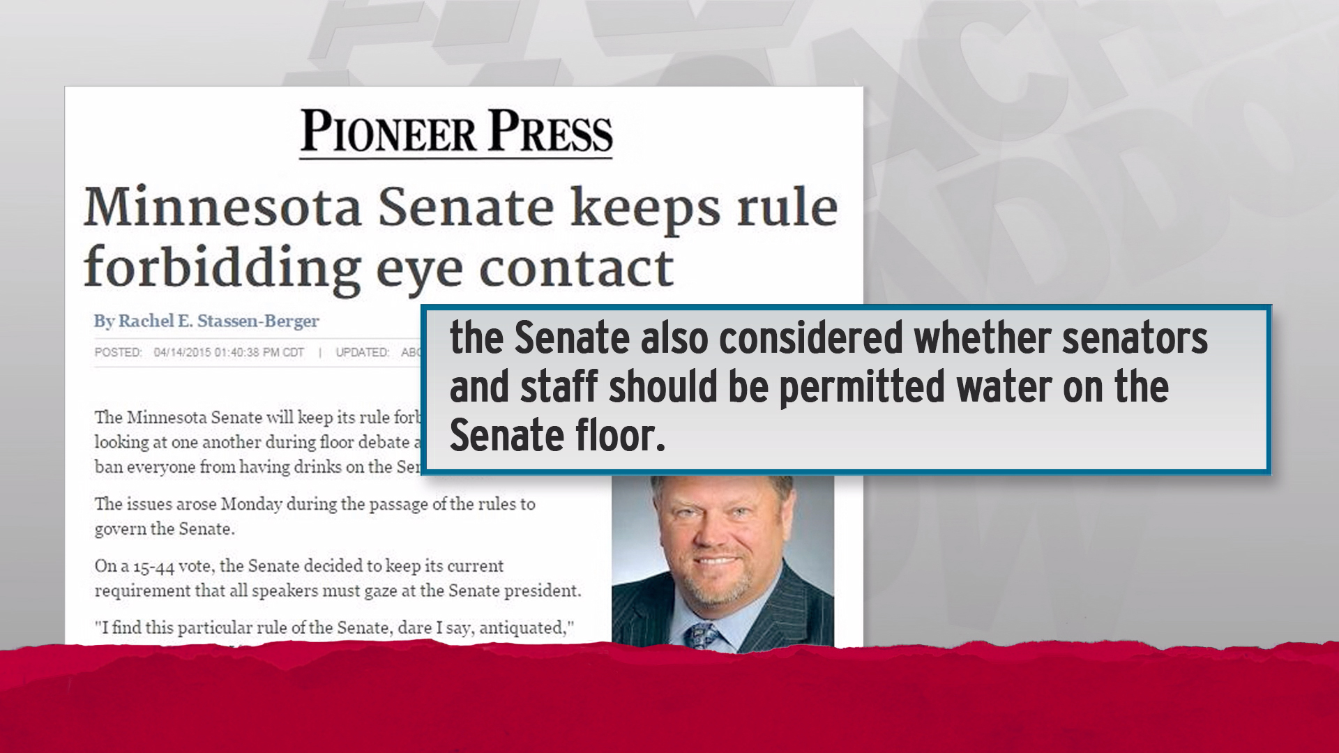 'No eye contact' rule kept by state senate