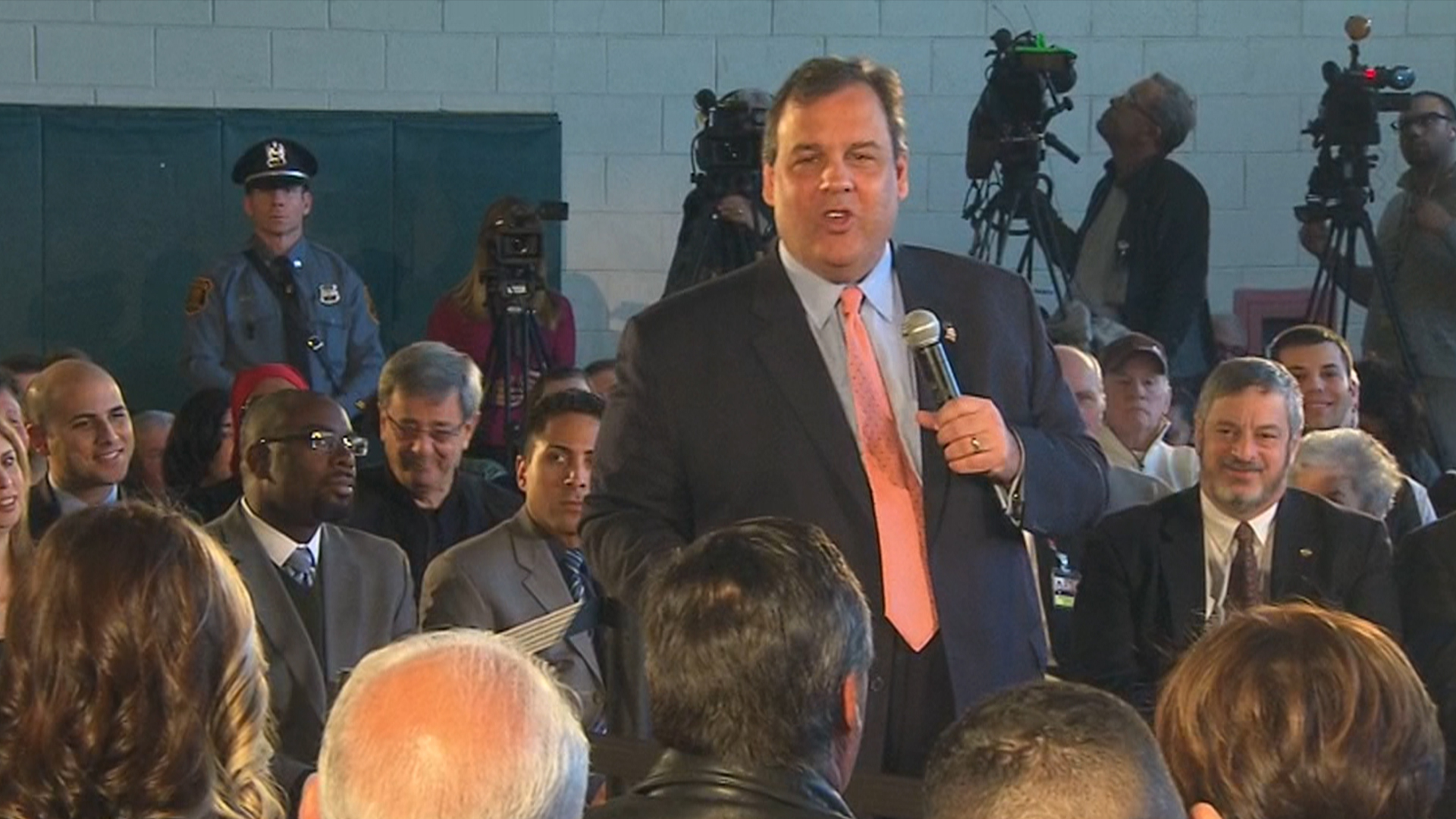 Protesters speak out at Christie town hall
