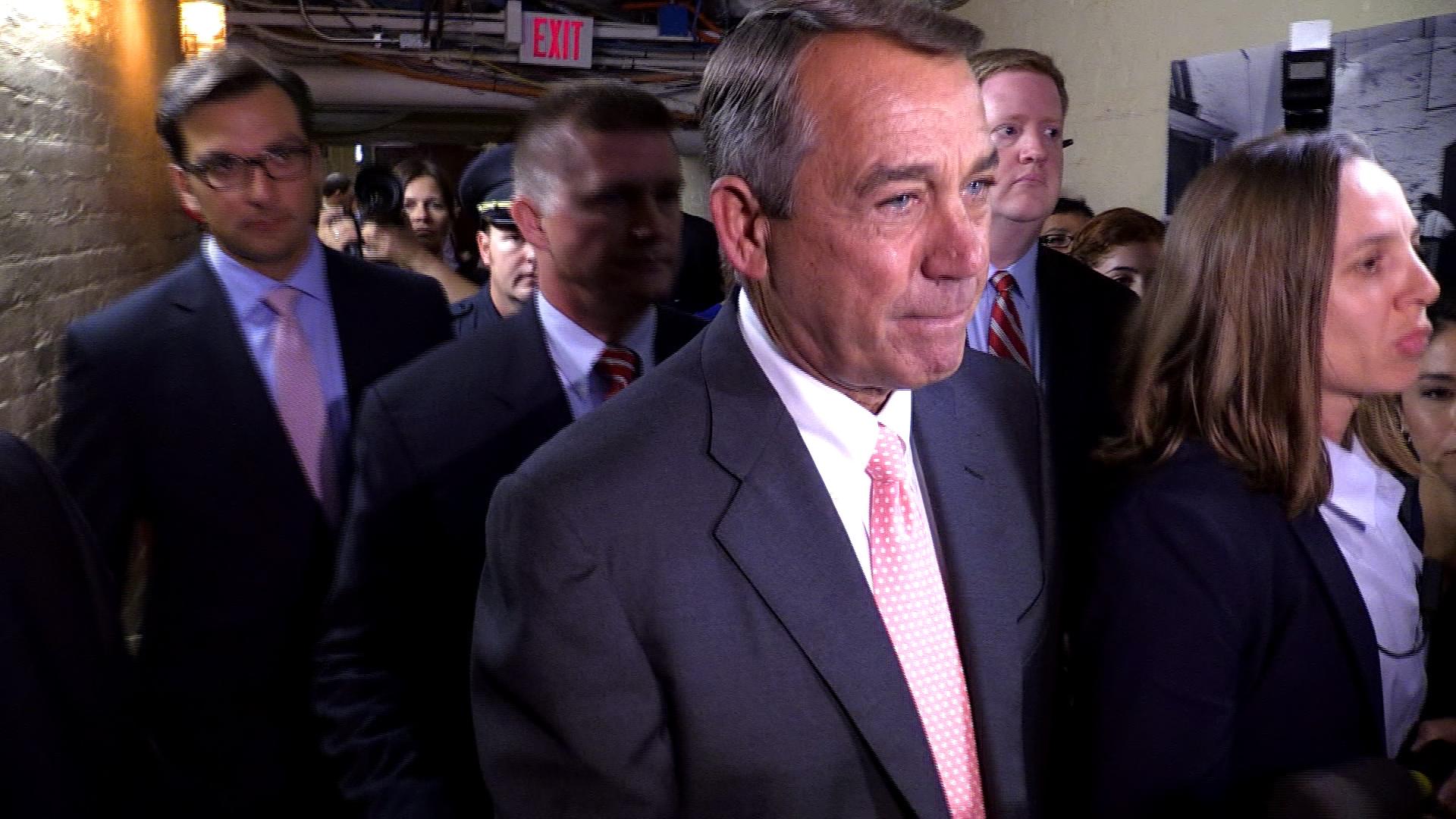 Boehner appears after resignation...
