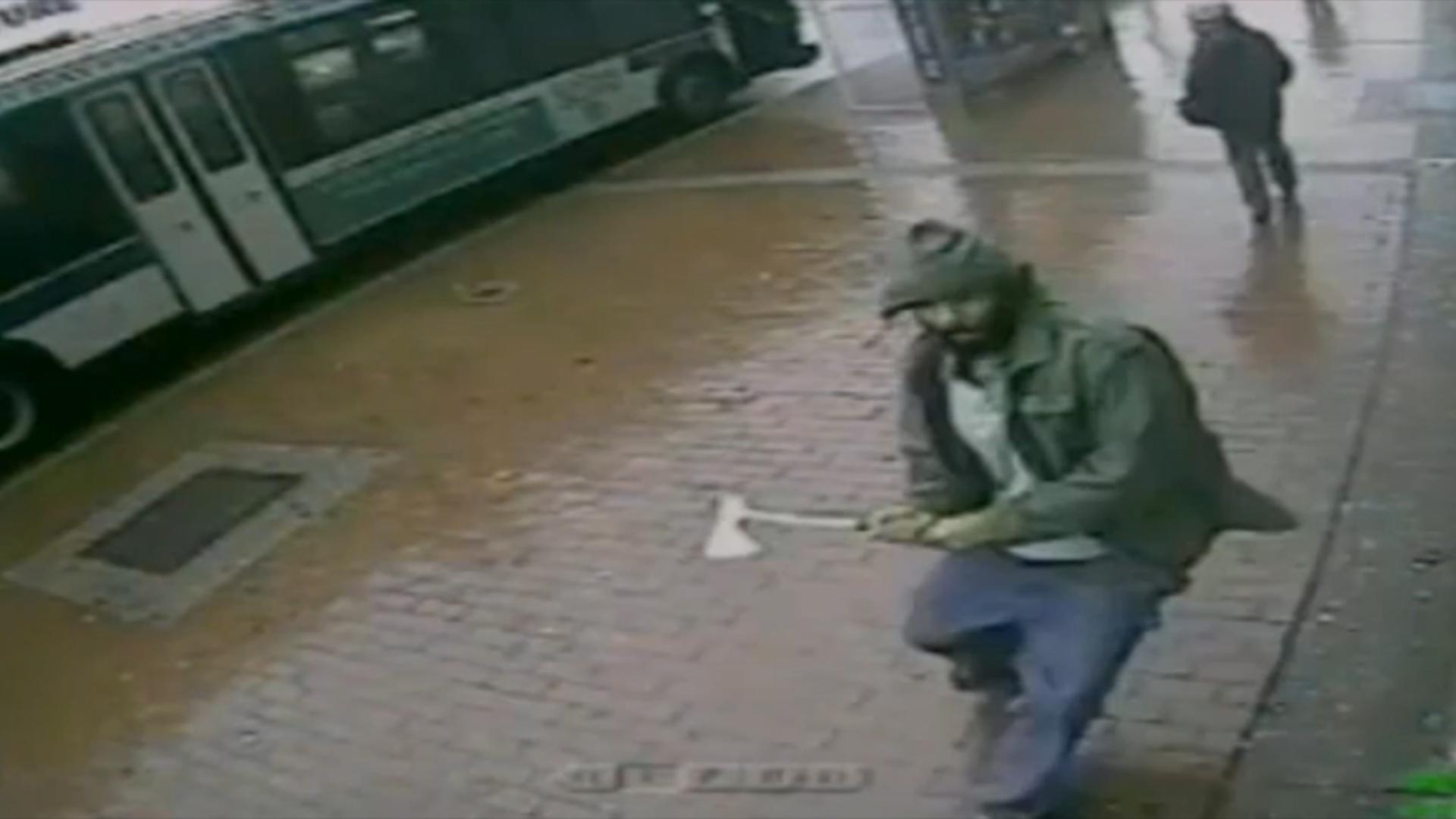Video of man wielding hatchet before attack
