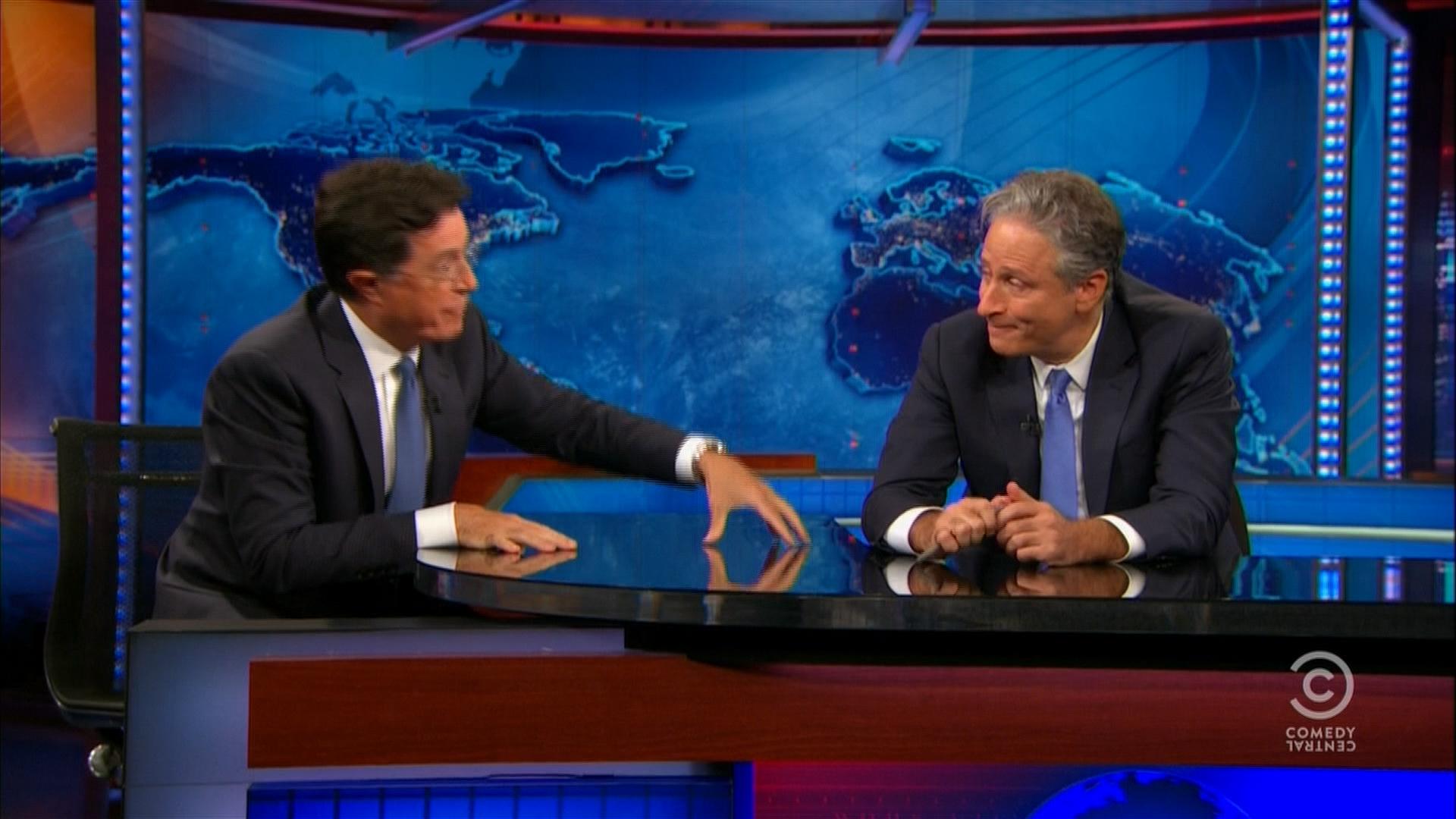 Colbert gives Stewart a touching farewell