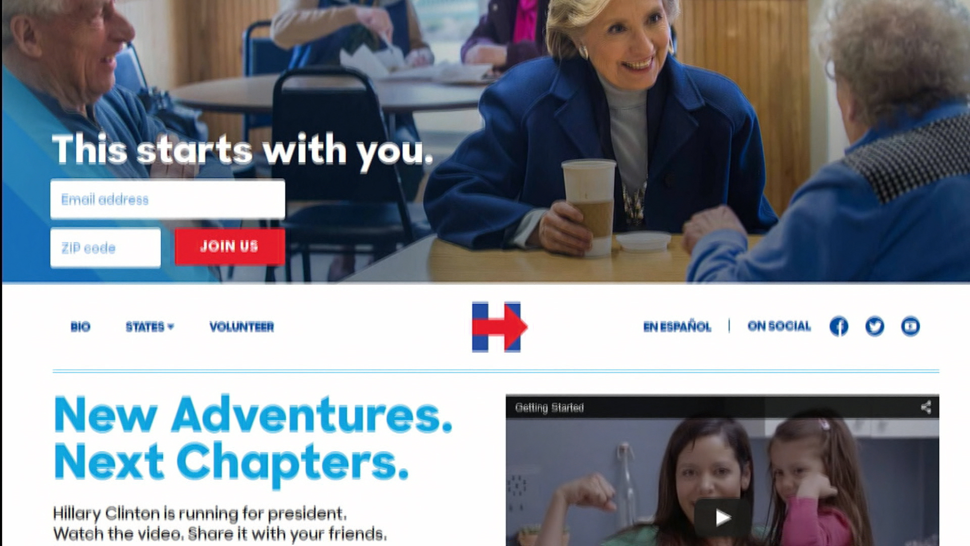 Clinton's campaign website makes a splash