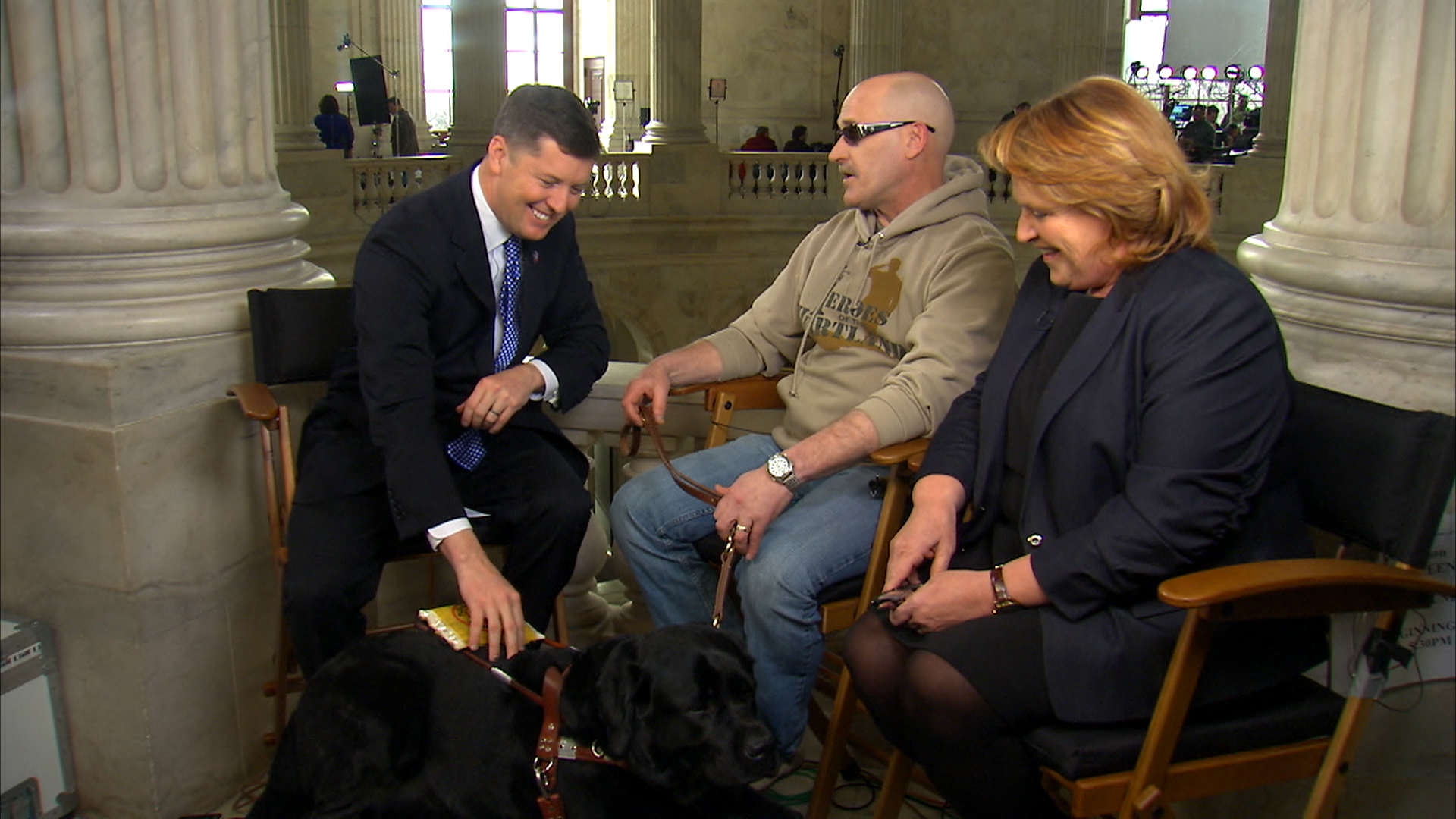Deacon the service dog at the SOTU