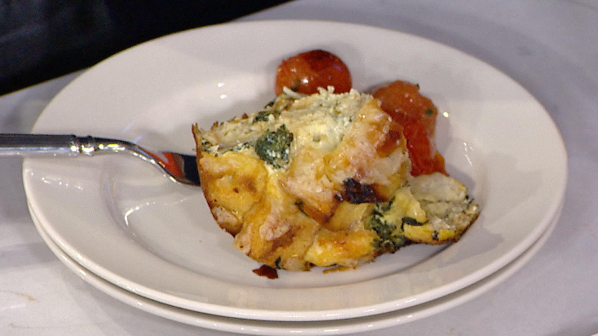 Spinach and gruyere cheese strata bobby flay makes it easy forumfinder Choice Image