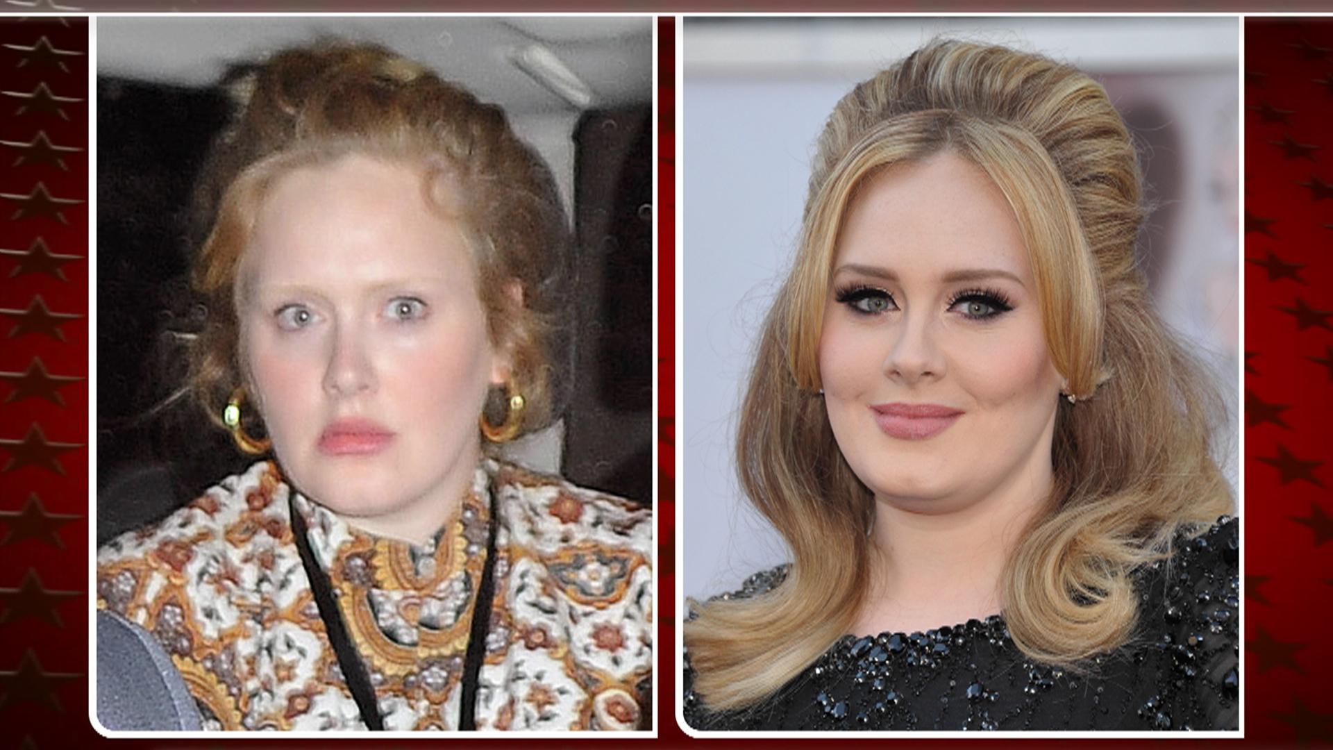 Adele Bares Makeup Free Face