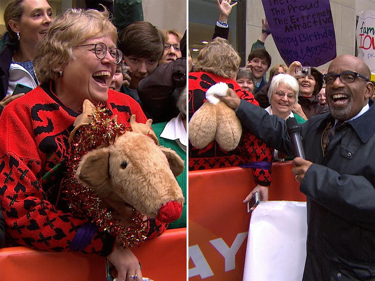 Oh deer! Al loses it over fan\'s reindeer sweater - TODAY.com