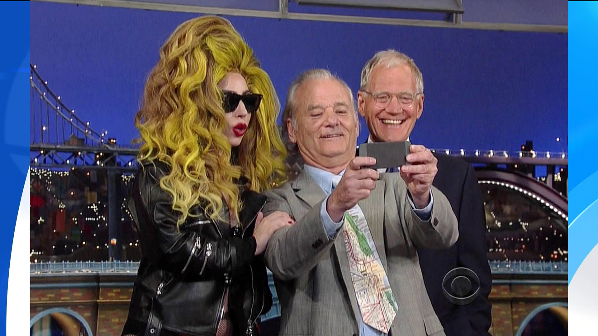 Bill Murray Shoots Selfie With Lady Gaga On Letterman