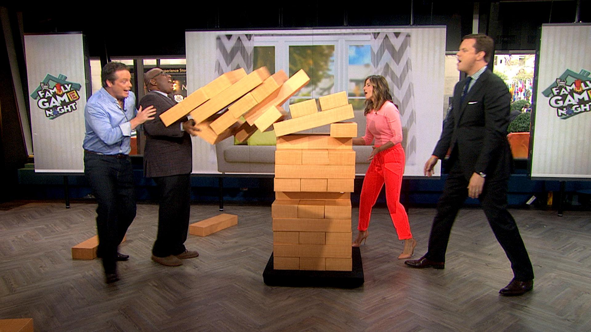 roker down supersized jenga game falls on al. Black Bedroom Furniture Sets. Home Design Ideas