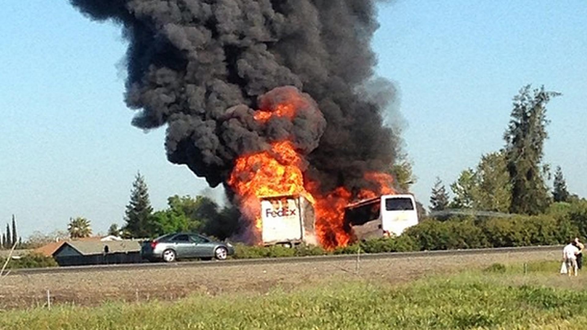 Fire Engulfs Deadly Bus Crash Site