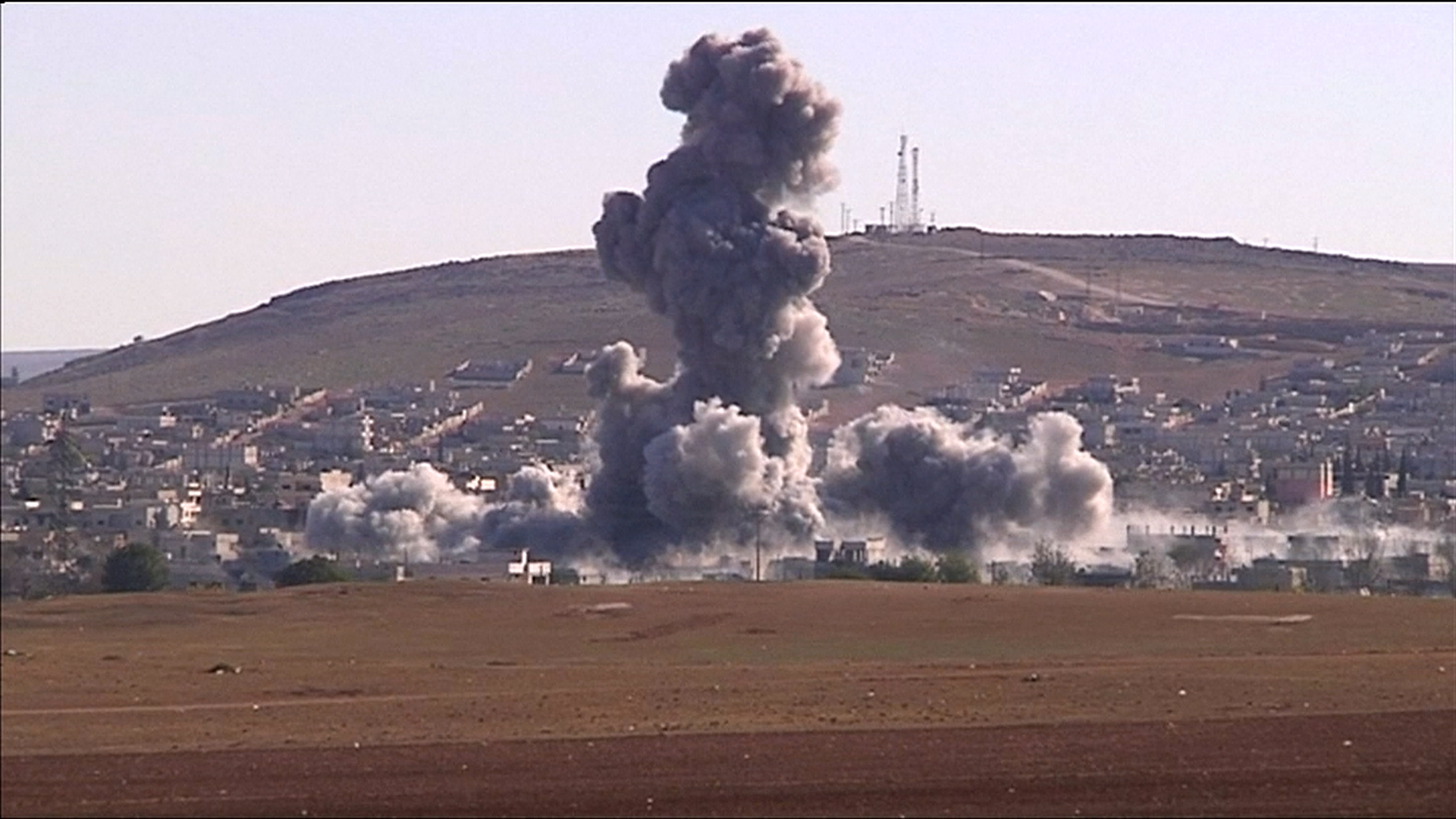 Two huge explosions in kobani target isis positions nbc news