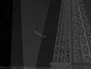 Santa flies circles around Eiffel Tower