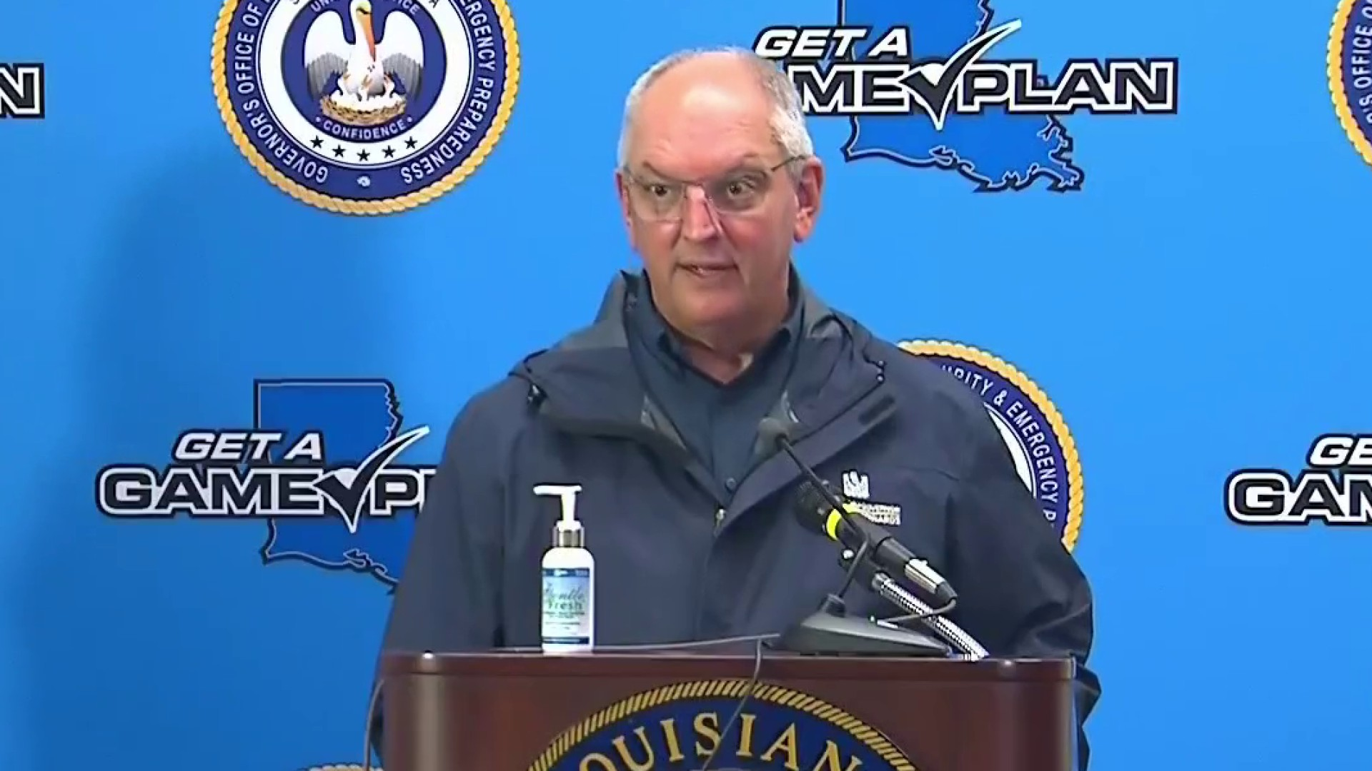 Louisiana governor: Be prepared to shelter in place 72 hours
