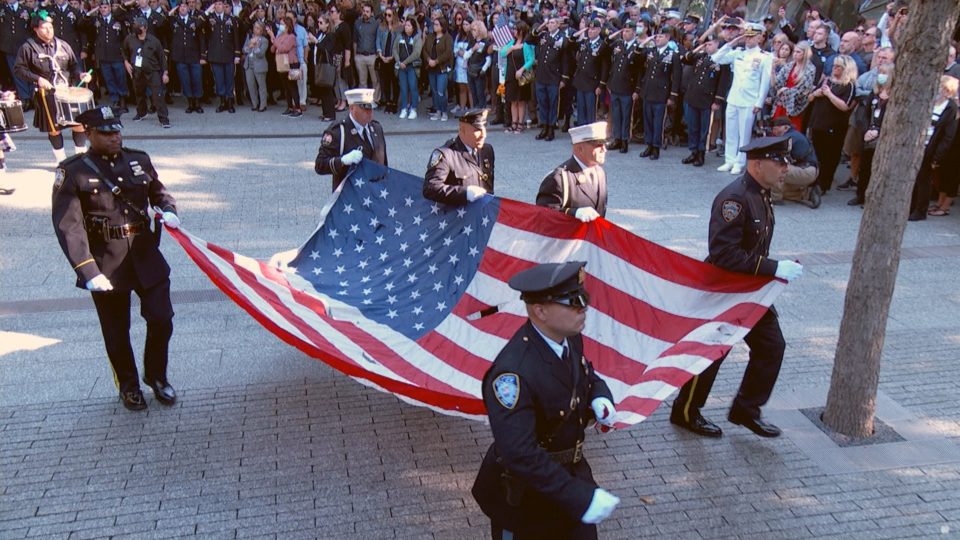 9/11 20th anniversary: Procession and moment of silence held at time north tower was struck