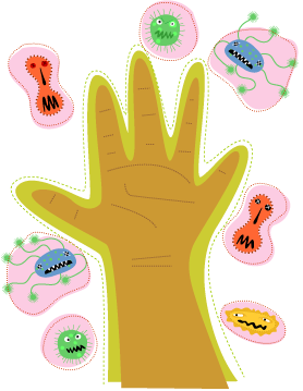 Hand and germs illustration