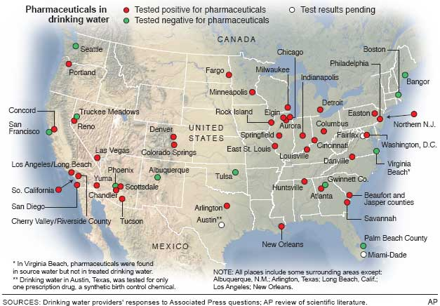Drugs In Water Affect Million In US Health Health Care - Drinking water map us